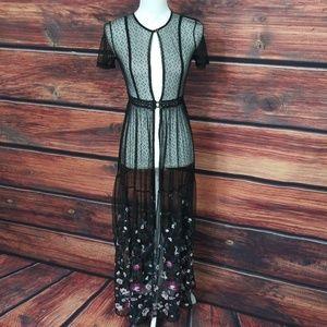 Womens Long Duster Bohemian Dress Sheer Floral XS